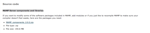 Download the latest MAMP server components.