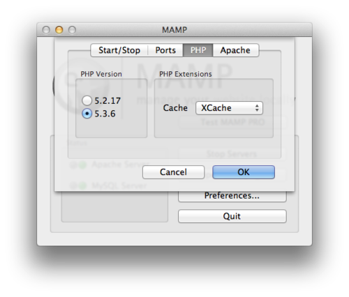 MAMP's PHP settings tab will show you the version you're using.