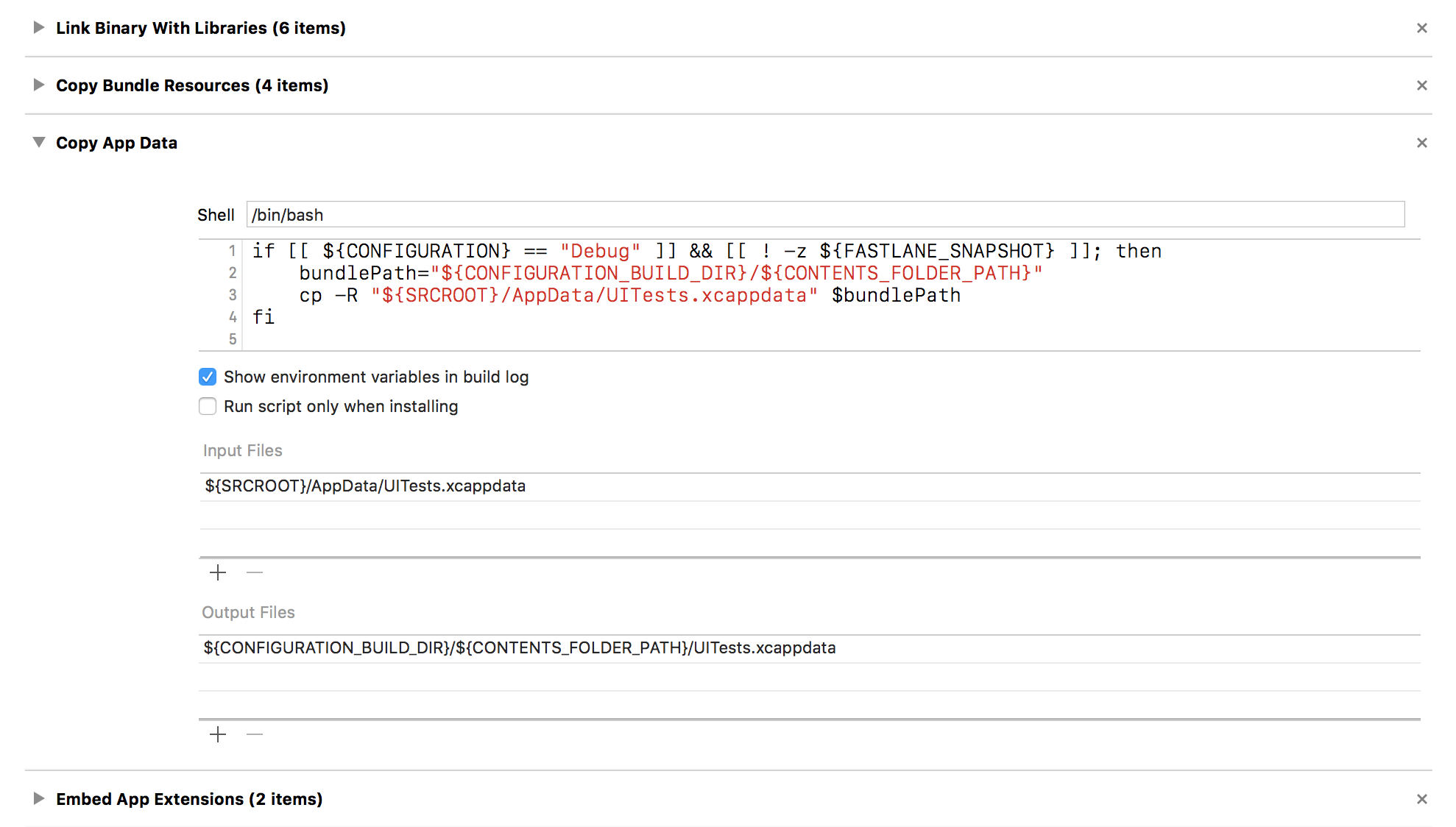 Run script build phase from Xcode, showing the script configured to copy UITests.xcappdata into the app bundle.
